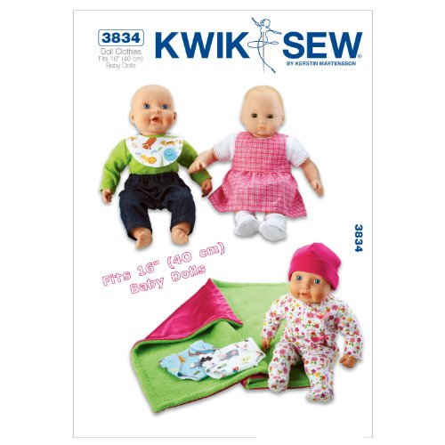 """Kwik Sew Patterns k3834 Vêtements pour poupée Taille unique 16 Poupées, Lot de 1, Blanc"" de KWIK-SEW PATTERNS"