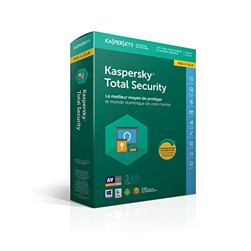 Kaspersky Total Security Mise à jour|2018|5 appareils|1 An|Ordinateurs/Tablettes Windows/Android/Mac/Smartphones|Téléchargement de Kaspersky