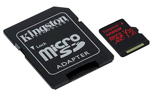 Kingston MicroSD Canvas React -(SDCR/128GB) Class 10, La Carte Idéale pour la Vidéo 4k et Les Photos en Mode Rafale de Kingston Technology