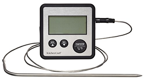 Kitchencraft Digital Thermomètre de cuisson et minuteur de cuisine, Argent de Kitchen Craft