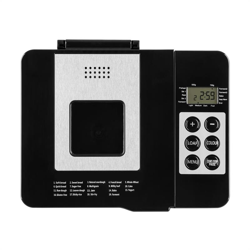 Klarstein Cookie Monster Machine à pain automatique 550 W 750 g inox argent/noir de Klarstein
