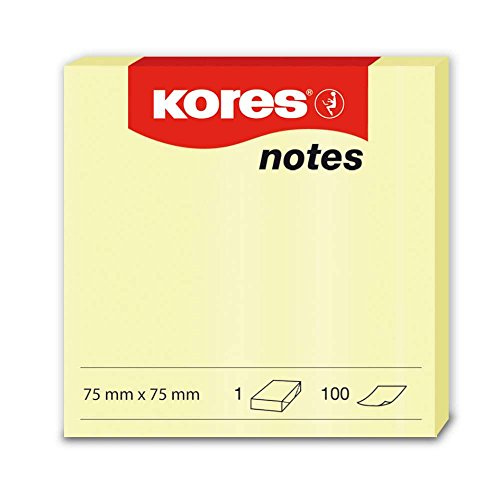 Kores 46075 Lot de 12 Notes repositionnables 75 x 75 mm 100 feuilles Jaune de Kores