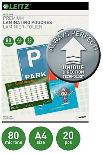 Leitz 73650000 Ilam UDT Lot de Pochettes de plastification A4 80u, Transparent de Leitz