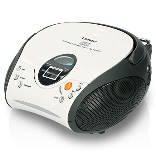 Lenco SCD-24 Stereo UKW-Radio mit CD-Player et antenne télescopique blanc de Lenco
