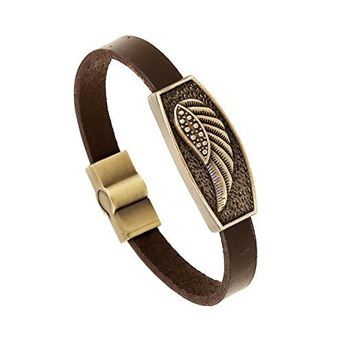 Retro-Punk-Fashion Style Genuine Brown Leather Strap Bracelet Wristband Bangle (Feather Wing) de Lengus
