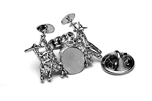 Polished Drum Kit silver-plated pin badge gift musician conductor teacher student de Libero Designs