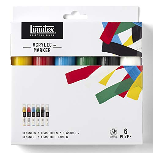 Liquitex 00121 Set de 6 Marqueurs Pointe Large Couleurs Assortis de Liquitex