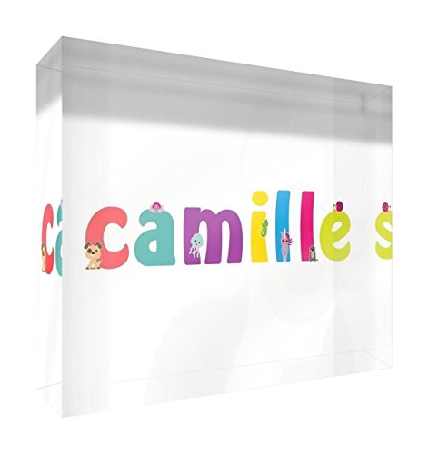 Little Helper Souvenir Décoratif en Acrylique Transparent Poli comme Diamant Style Illustratif Coloré avec le Nom de Jeune Fille Camille 14,8 x 21 x 2 cm Grand de Little Helper