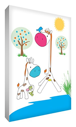 Little Helper Toile sur Cadre Feel Good Art Maman et Bébé Girafe au Bord du Point d'Eau 24 X 36 de Little Helper