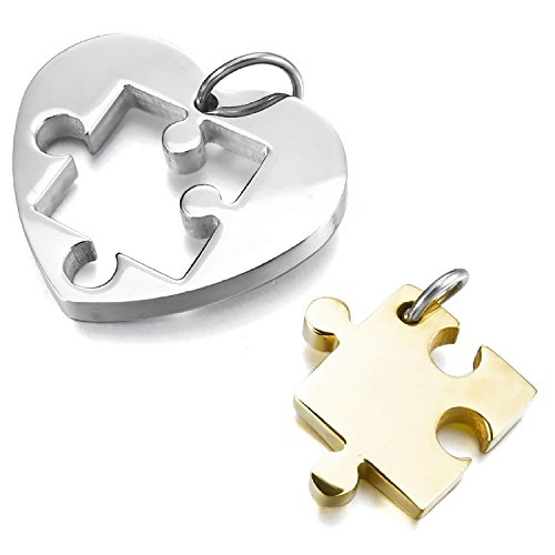 MENDINO Mens Womens 2PCS Stainless Steel Pendant Necklace Silver Gold Jigsaw Puzzle Heart Valentine with 2pcs 22 inch Chain de MENDINO
