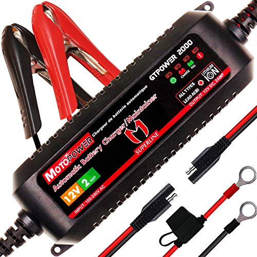 MOTOPOWER MP00207A 12V 2Amp Chargeur de Batterie Automatique Intelligent/Maintainer pour Les Deux Batteries au Plomb et Les Batteries au Lithium-ION de MOTOPOWER