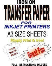 Inkjet Printable Iron On T Shirt & Fabric Transfer Paper For Light Fabrics 10 A3 Sheets de Madaboutink