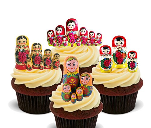 Matryoshka / Russian Dolls Edible Cupcake Toppers - Stand-up Wafer Cake Decorations by Made4You de Made4You