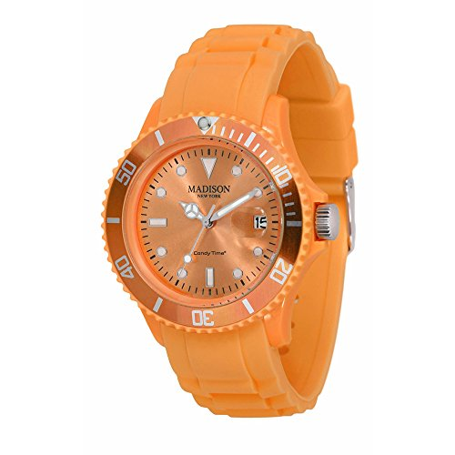 Madison New York - SL4167PO - Montre Mixte - Quartz Analogique - Cadran Orange - Bracelet Silicone Orange de Madison New York