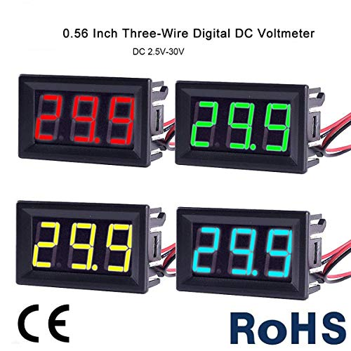 MakerHawk 4pcs Digital DC Voltmeter 0.56 inch Two-Lines 2.5-30V Digital Voltmeter Gauge Tester LED Display Reverse Polarity Protection and Accurate Pressure Measurement 4 Colours de MakerHawk