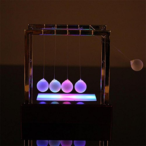 Swing jouet lumineux de Newton, Mamum Newtons Cradle à LED Énergie cinétique Home Office Science Jouets Home Decor Taille unique Red de Mamum