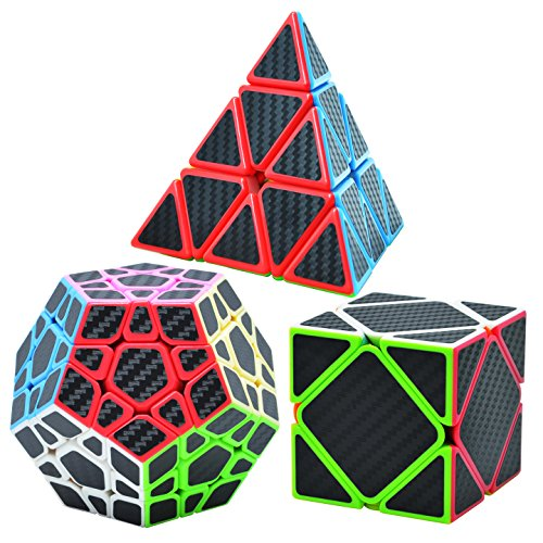 Maomaoyu Speed Cube Ensemble Pyraminx+Megaminx+Skewb 3 Pack Puzzle Twist Magic Cube Fibre de Carbone Autocollant Cube de Vitesse Magique Cadeau de Vacances pour Enfants Adultes Noir de Maomaoyu