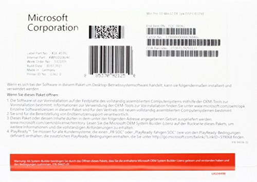 MS Windows 10 Pro 32bit OEM [import allemand] de Microsoft