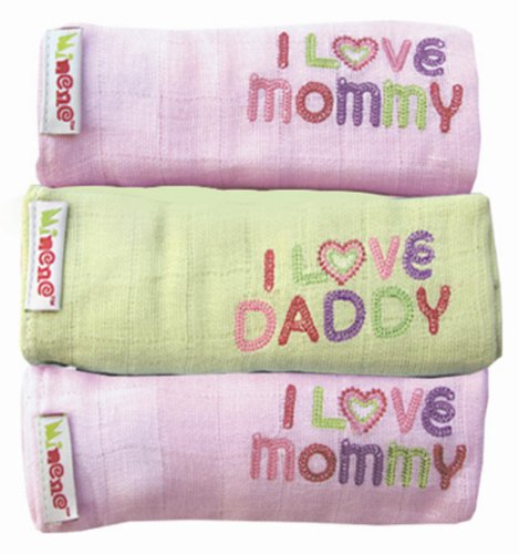 Minene Uk I Love Mummy/I Love Daddy en mousseline (Rose et Vert) de Minene