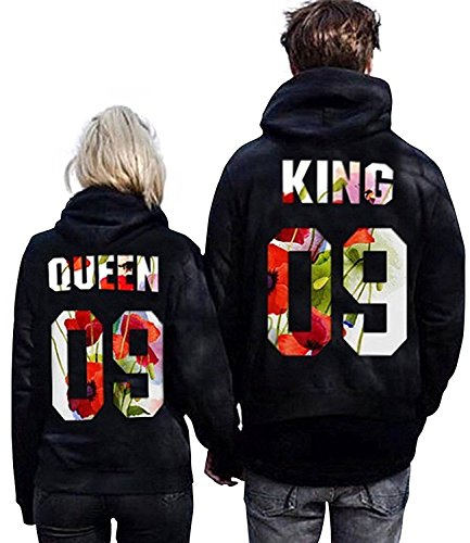 Minetom Couples Hommes Femme Sweat à Capuche Couronne KING QUEEN Impression Manches Longues Hooded Sweatshirt Pull Hoodie Tops Fleur EU M(Homme) de Minetom