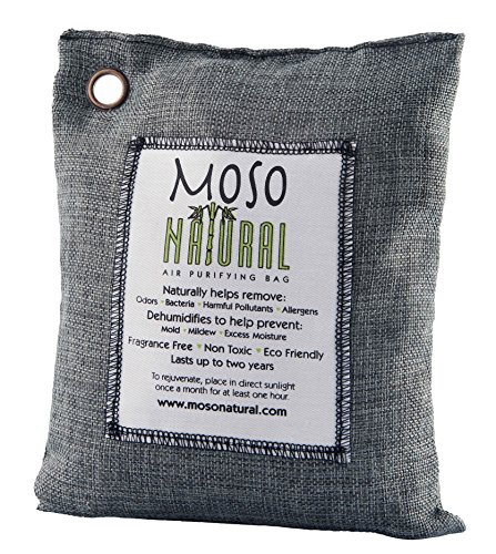 Moso Natural Air Purifying Bag 500g Charcoal Color Naturally Removes Odors, Allergens and Harmful Pollutants. Prevents Mold, Mildew And Bacteria From Forming By Absorbing Excess Moisture. Fragrance Free, Chemical Free And Non Toxic. Reuse For Up To Two Ye de Moso Natural