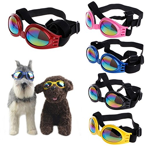 Meisijia Pet Dog UV de protection coupe-vent Lunettes de soleil pliables avec sangle réglable pour Medium Large Dog