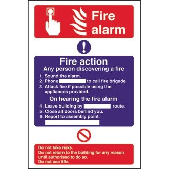 Stalwart Cc926 Alarme incendie/Fire Action, 300 mm x 200 mm, autocollants, de Stalwart
