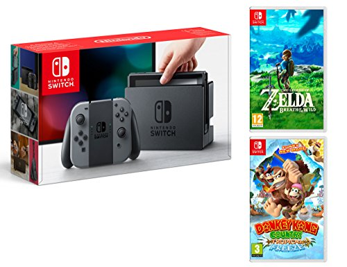 Nintendo Switch Gris 32Go Pack + Zelda: Breath of The Wild + Donkey Kong: Tropical Freeze de - Nintendo -