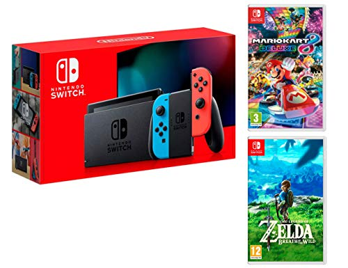 Nintendo Switch Rouge/Bleu Néon 32Go Pack + Mario Kart 8 Deluxe + Zelda: Breath of The Wild de - Nintendo -