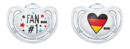 Nuk Sucette Pour Freestyle silicone de football Edition 10176210, Fan et cœur, forme orthodontique, Lot de 2 de Nuk