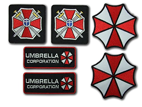 Resident Evil Umbrella corporation Costume Cosplay Fancy robe Fer Sur Patch – Set of 6 insigne de Tapisserie de ONEKOOL
