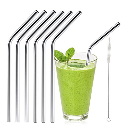 OULII 6pcs Stainless Steel Drinking Straws Reusable Curved Straws for Yeti 20oz with 1 Cleaners de OULII