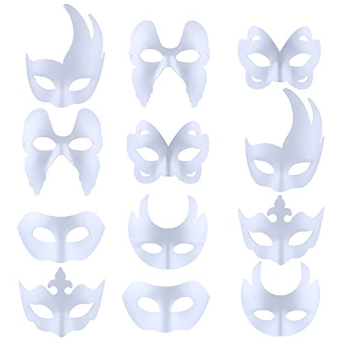 Masque DIY, OUTGEEK Masque Halloween Masque Masquerade blanc (12Pcs) de OUTGEEK