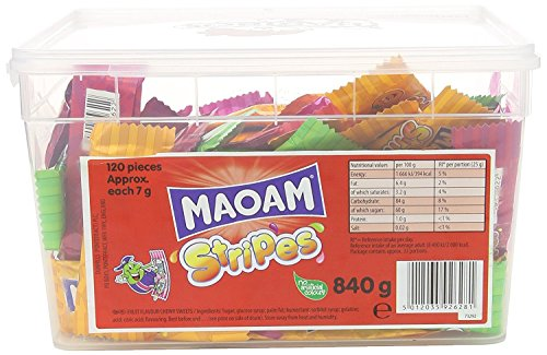 Bonbons Maoam Stripes Fruit Flavour Chew 120 Tub de Maoam