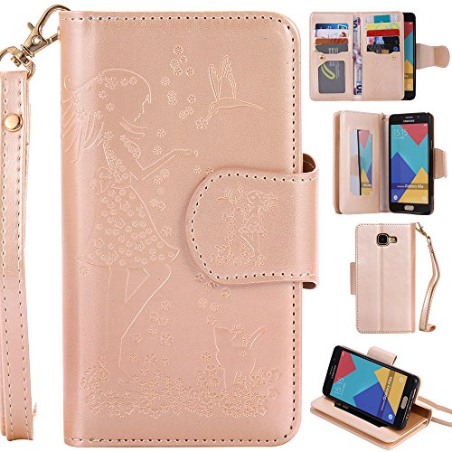 Ooboom® Samsung Galaxy A5 2017 Coque Gaufrer Motif Fille PU Cuir Flip Housse Étui Cover Case Wallet Portefeuille Supporter Pochette pour Samsung Galaxy A5 2017 - Or de Ooboom