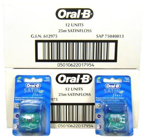 24x Oral-B Satin Floss Mint 25m (Flossing Action For A Fresh Clean Feeling) by Oral-B de Oral-B
