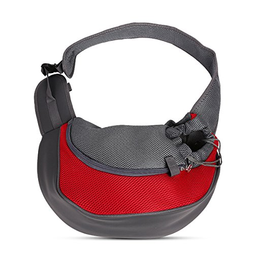 PETCUTE Pet Sling Chat Puppy Carrier Mesh épaule Carry Bag Sling Mains-Libres Sac de Voyage Rouge de PETCUTE