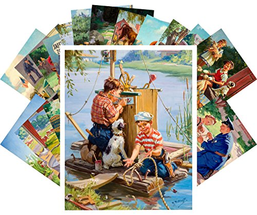 Carte Postale 24pcs American Kids Life by Henry Hy Hintermeister and Raymond James Stuart Saturday Evening Post de PIXILUV