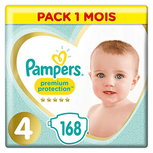 Pampers Premium Protection Taille 4, 168 couches, 9-14 kg, paquet mensuel de Pampers