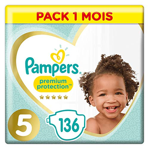 Pampers - Premium Protection - Couches Taille 5 (11-23 kg) - Pack 1 mois (x136 couches) de Pampers