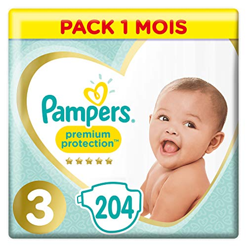 Pampers - Premium Protection - Couches Taille 3 (6-10 kg) - Pack 1 mois (x204 couches) de Pampers