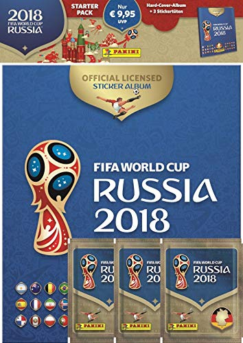 Panini 709951 FIFA World Cup Russia 2018 à Collectionner Starter Set de Hard Cover Album et 3 Booster de Panini