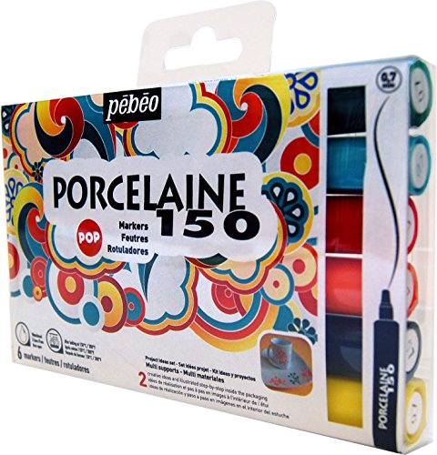 Pébéo Porcelaine Etui de 6 feutres Couleurs Pop Pointes Fines Assorties de Pébéo