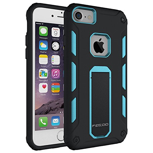 """Coque iPhone 6,Pegoo [ Coque Pour iPhone 7/6/6S Universal ] Antichoc Armure Housse par le souple TPU Silicone + dur PC Double Mixte Protection Anti Scratch cas Coque Housse Etui Avec Support Cover Case Pour apple iPhone 7 6 6S (4.7) (Bleu)"" de Pegoo"