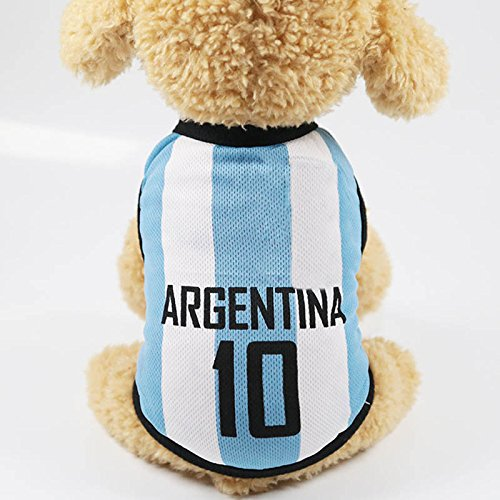 Chien Pet Vêtements, PerGrate Mignon Petit Chat Chiot Football Match Imprimer Coton Gilet Manteau Tenues Costumes T-shirt Plus La Taille (M (Dos: 30cm, Buste: 40cm, Encolure: 27cm), Blanc1) de PerGrate