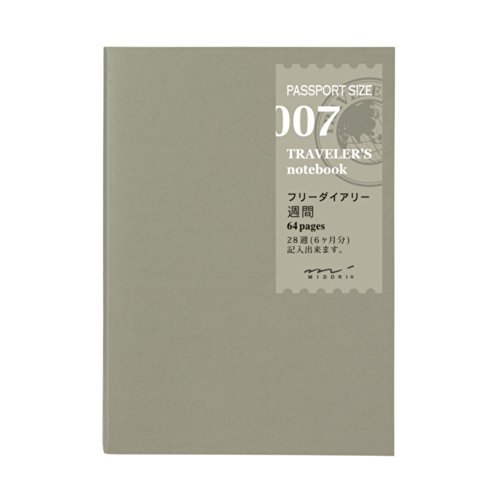Midori Traveler's Notebook (Refill 007) Passport Size Weekly Diary de Phil design