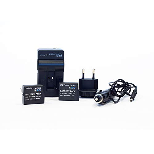 Pro-mounts Batterie Rechargeable Kit + Chargeur 1260 mAh pour GoPro 5/6 de Pro-mounts