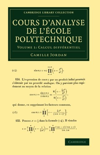 Cours d'analyse de l'ecole polytechnique de Cambridge University Press
