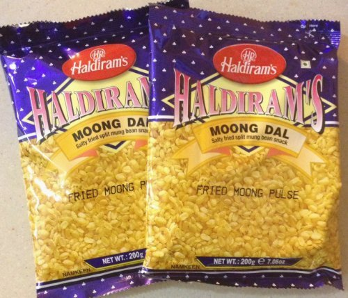Haldiram's Moong Dal - Salty Fried Split Moong Bean Snack / 200g., 7.06oz. (Pack of 2) by Haldiram de HALDIRAM