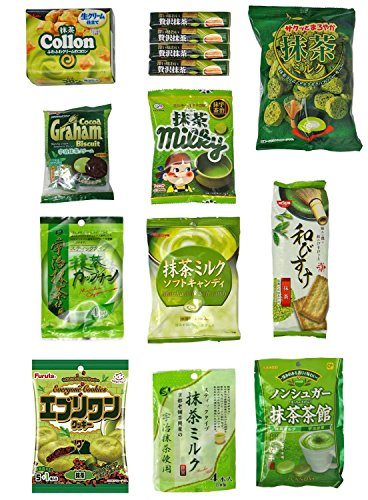 "Japanese ""Matcha flavor Set"" 14 packs of snacks, sweets and candies de Dagashi"
